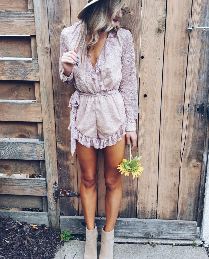 Blush Playsuit with Young Bohemians on Champagne + Macaroons