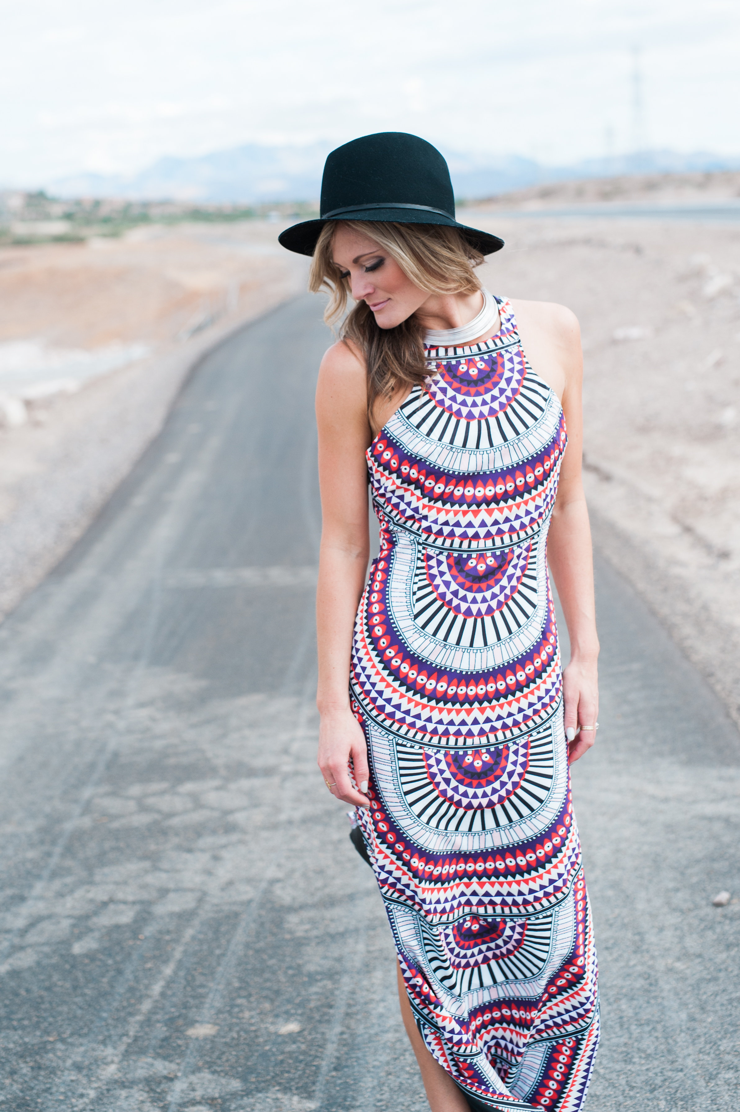 Tribal Print Maxi Dress - Nevada Photoshoot